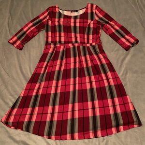 Reborn Red Black Plaid Dress EUC Size XL